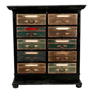 Late 19th Century Antique French Ebonized Oak Linen Chest