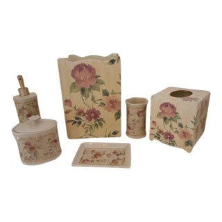 Rose Shabby Chic Wastebasket Tissue SEt S/6