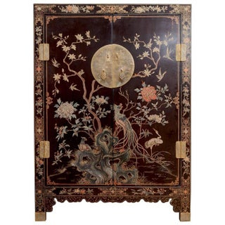 Chinese Lacquered Polychrome Wedding Cabinet