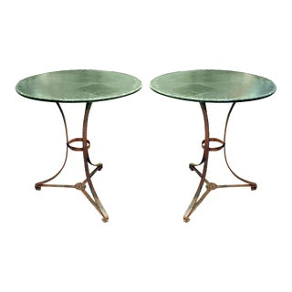 One Pair of French Garden Tables With Old Worn Painted Finish