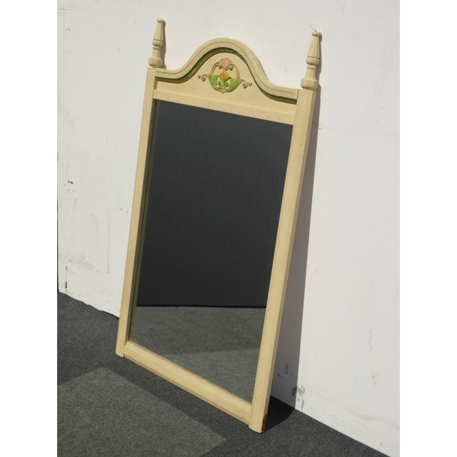 French Country Off White Floral Crest Wall Mirror - Image 5 of 11