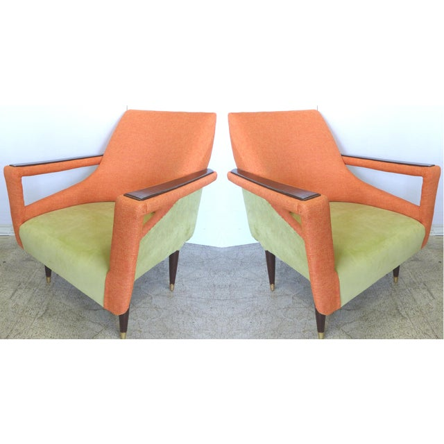 Angled Mid-Century Modern Club Chairs - Pair - Image 2 of 9