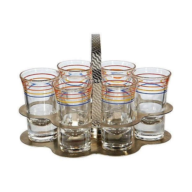 Image of Multicolored Striped Shot Set - Set of 7