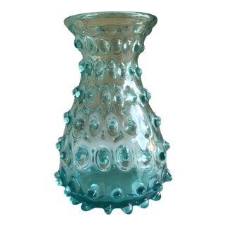 Artisan Blue Glass Hobnail Vase