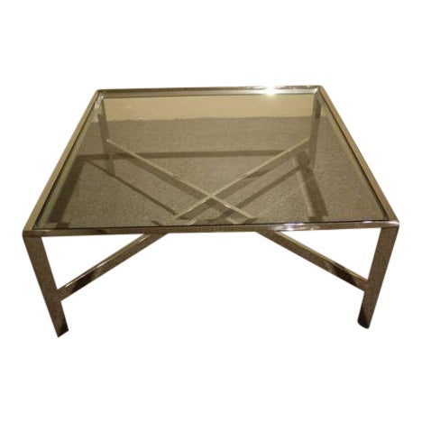 Chrome & Glass Cocktail Table - Image 1 of 7