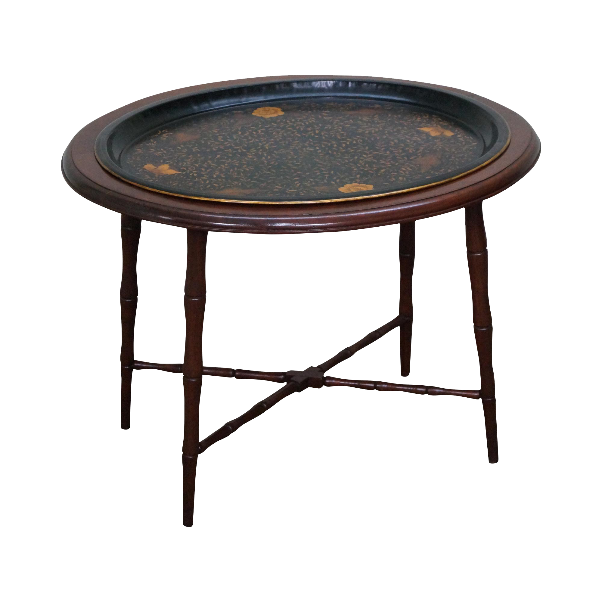 Antique Faux Bamboo Hand Painted Tole Tray Table