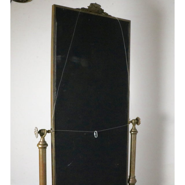 Hollywood Regency Brass Standing Mirror - Image 7 of 7