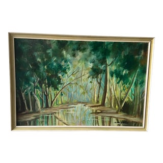 1940s Forest Painting on Board Framed