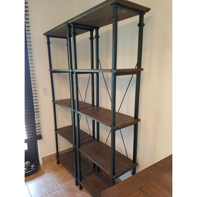 Vintage Modern Rustic Bookcases - A Pair - Image 3 of 4