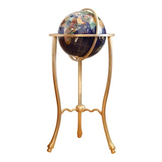 Precious Stone Globe with Brass Stand
