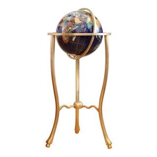 Precious Stone Globe with Brass Stand