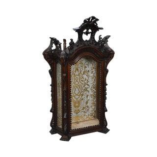 Antique Spanish Rococo Carved Table Top Vitrine Curio Cabinet