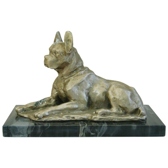 1950's Cast Metal Dog on Marble Base - Image 1 of 10