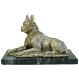 1950's Cast Metal Dog on Marble Base