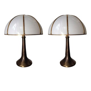 """Pair of """"Fungo"""" Lamps from Gabriella Crespi, Signed"""