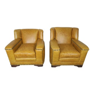 Pair of Leather Deco Club Chairs C. 1930