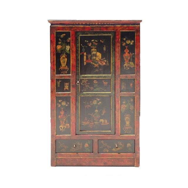 Tibetan Red Black Flower Graphic Storage Cabinet - Image 1 of 6