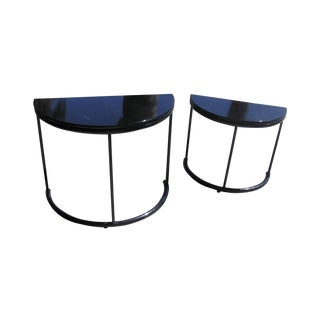 Modern Black Lacquer Nesting Tables - A Pair