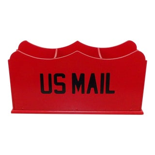 Red Mail Box Slot Desk Organizer