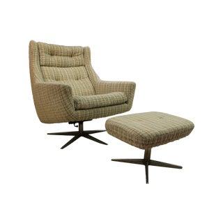 Mid-Century John Stuart Upholstered Chair Ottoman