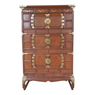Asian Style Elm Wood Armoire Storage Cabinet