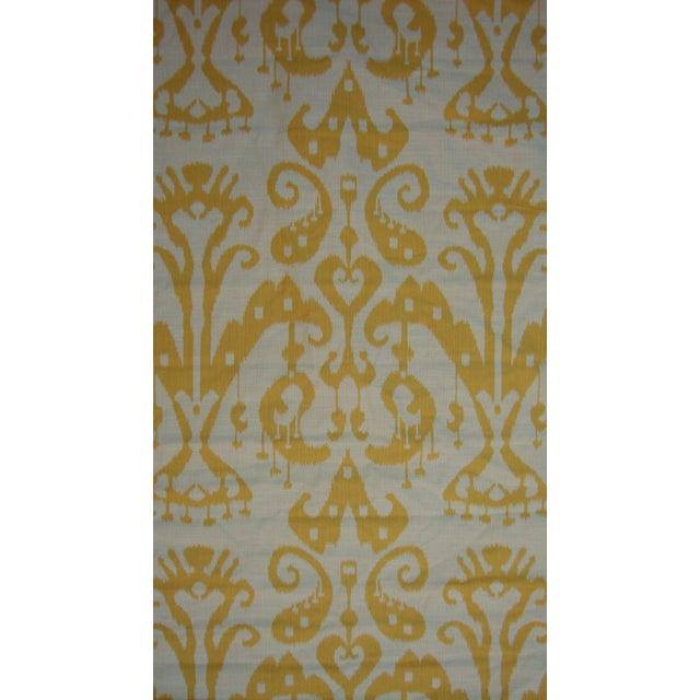Set of 4 Custom Yellow Gold Cream Ikat Shades - Image 4 of 10