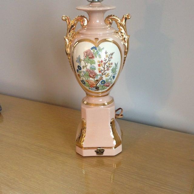 Vintage Blush Colored Deena China Lamp - Image 7 of 11