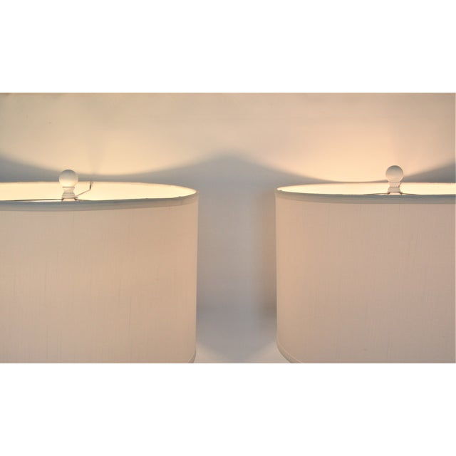 White Faux Bois Floor Lamps Inspired by Serge Roche - a Pair - Image 7 of 11