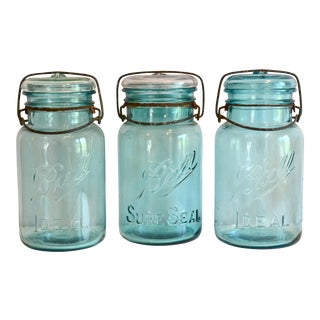 1930s Aqua Ball Jars - Set of 3