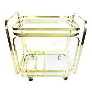 Milo Baughman Brass Bar Cart