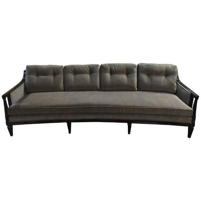 Modern Curved Sofas: Mid-Century Modern Curved Velvet Sofa