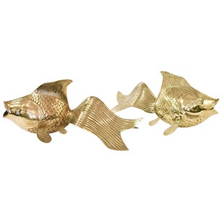 Pair of Monumental Koi Fish in Brass by Rosenthal