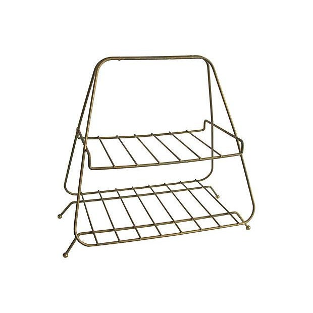 Image of Mid-Century Brass Magazine Rack