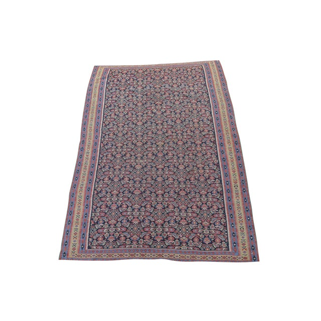 "Antique Senneh Kilim Rug - 4'1"" x 6'2"" - Image 1 of 4"
