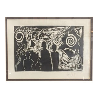 Signed Abstract Figurative Block Print 1/1