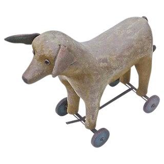 Vintage French Felt Dog Pull Toy