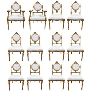 12 French Giltwood Neoclassical Style Dining Chairs