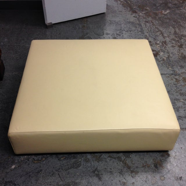 Cream Leather Ottoman by Living Divani - Image 4 of 6