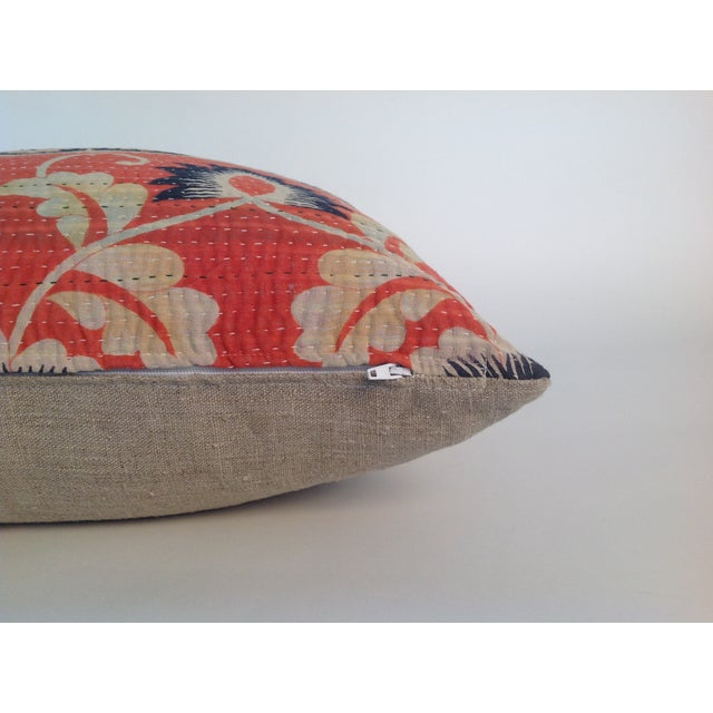 Vintage Coral Block Print Kantha Quilt Pillow - Image 4 of 4