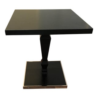 Cartier Style Black Oak & Nickel Dizzy Cocktail / End Table