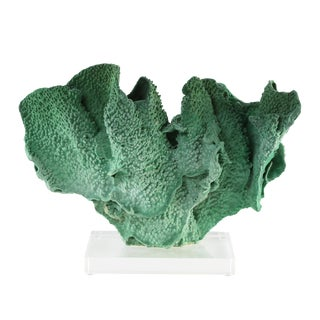 VINTAGE GREEN CORAL SPECIMEN MOUNTED ON A LUCITE STAND
