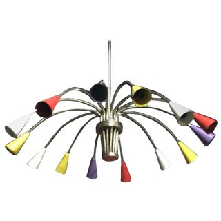 Italian Mid-Century Modern Chrome and Multicolor Chandelier