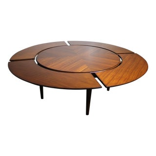 Mid-Century Book Matched Walnut Extension Table