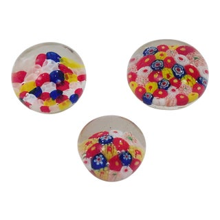 Vintage Colorful Glass Paper Weights - Set of 3