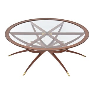 Italian Modern Mahogany, Brass and Glass Low Table, Carlo de Carli