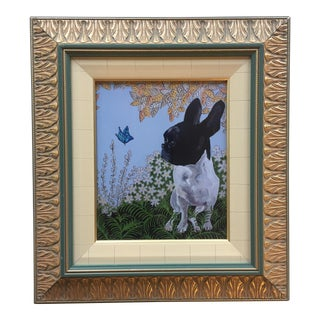 """Frenchie"" With Butterfly Dog Print by Judy Henn"