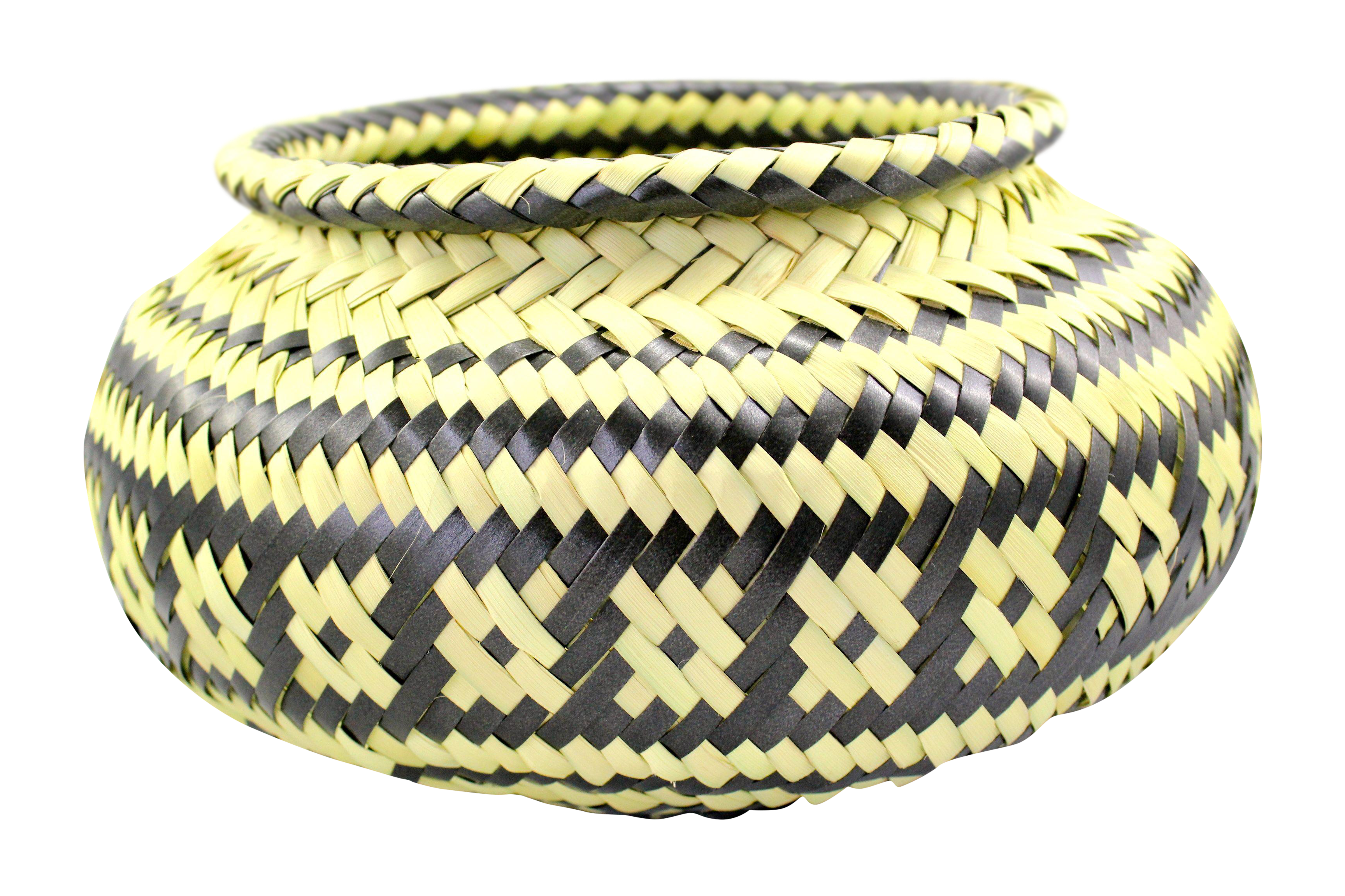 Palm Hand-Woven Black & Natural Basket