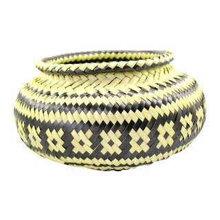 Palm Hand-Woven Black & Natural Basket