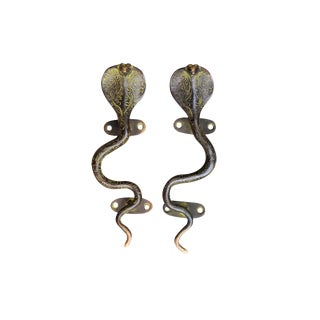 Green Brass Cobra Door Handles - A Pair