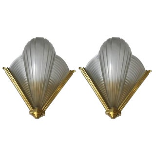 French Art Deco Petitot Ribbed Wall Sconces - A Pair